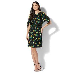 NY & Company Cold Shoulder Pineapple Print Dress